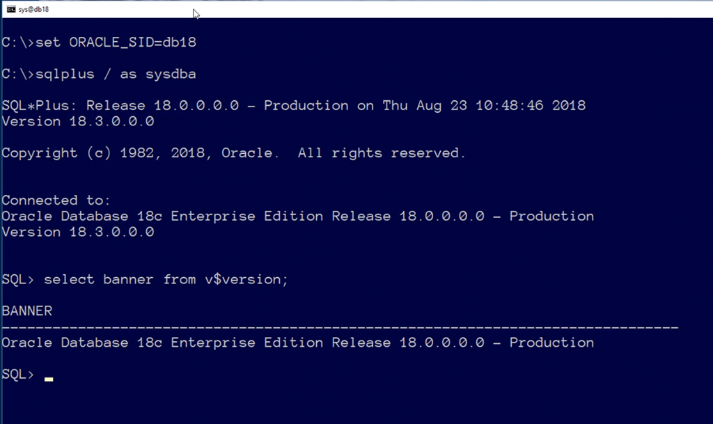 18c database creation on Windows – Learning is not a spectator sport
